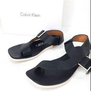 Calvin Klein RIVITA Leather Thong Sandal Shoes 9.5